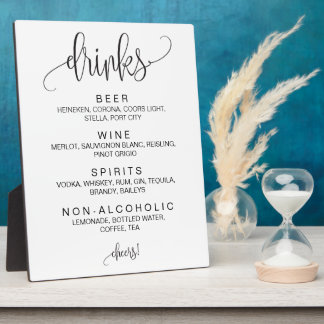 Alcohol Cocktail Drinks Bar Editable Wedding Sign Plaque