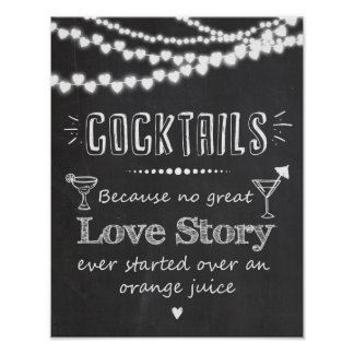 Alcohol Cocktail Wedding Sign Love Story Poster