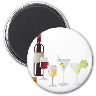 Alcohol Drinks 6 Cm Round Magnet