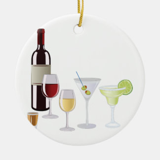 Alcohol Drinks Round Ceramic Decoration
