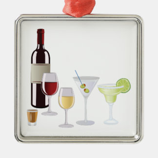 Alcohol Drinks Silver-Colored Square Decoration