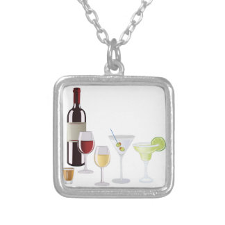 Alcohol Drinks Silver Plated Necklace