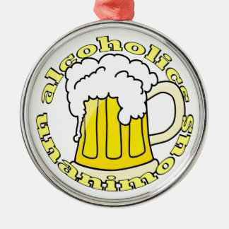 Alcoholics Unanimous Silver-Colored Round Decoration