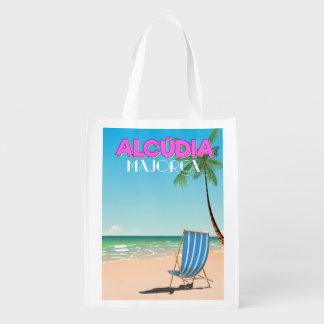 Alcúdia Majorca beach travel poster Reusable Grocery Bag