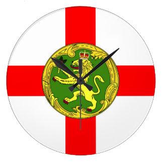 Alderney flag Guernsey symbol british Large Clock