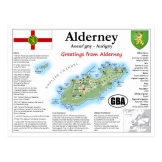 Alderney Map Postcard