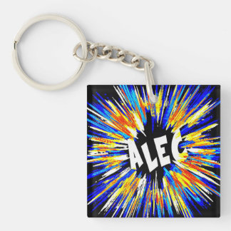 Alec Name Art Double-Sided Square Acrylic Key Ring