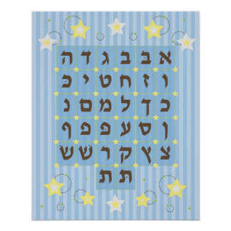 Alef Beis Poster (light Blue)