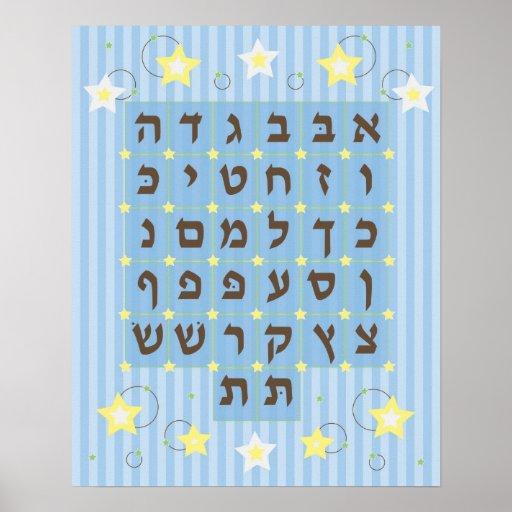 Alef Beis Poster (light Blue)