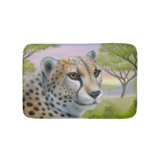 Alert African Cheetah Cat Bath Mat