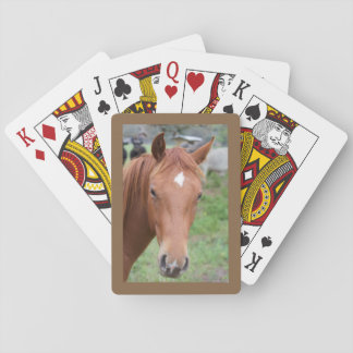 Alert Brown Horse Close-up Playing Cards