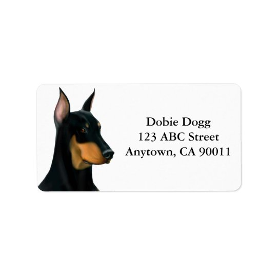 Alert Doberman Pinscher Dog Label Address Label