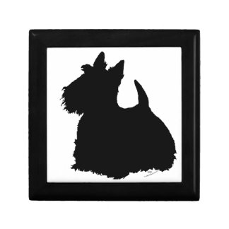 Alert Scottish Terrier Silhouette Small Square Gift Box