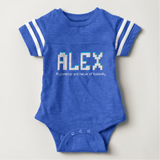 Alex boys name and meaning pixel text baby bodysuit