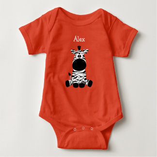Alex, Personalized Cute Baby Zebra Baby One Piece Baby Bodysuit