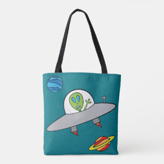 Alex the Alien - All-Over-Print Tote Turquoise Tote Bag