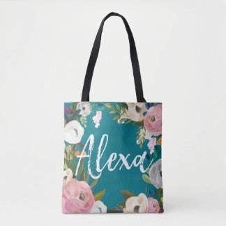 Alexa Brushed Floral Wedding Party  Custom Name Tote Bag