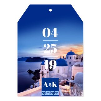 ALEXA Greek Key Luggage Tag Shaped Save the Date Card