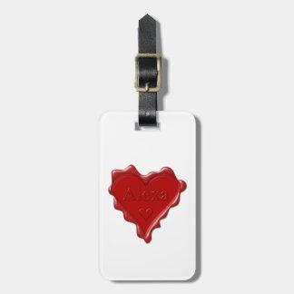 Alexa. Red heart wax seal with name Alexa Luggage Tag