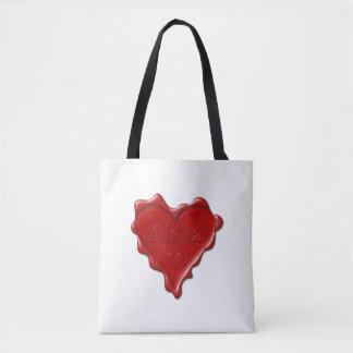 Alexa. Red heart wax seal with name Alexa Tote Bag