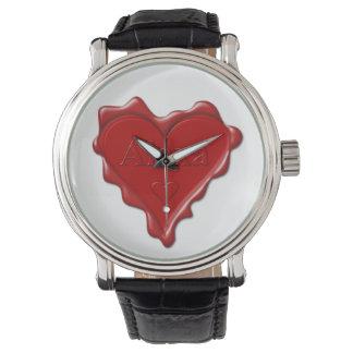 Alexa. Red heart wax seal with name Alexa Watch