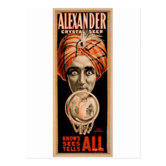 Alexander Crystal Seer, 'Knows Sees Tells ALL' Postcards