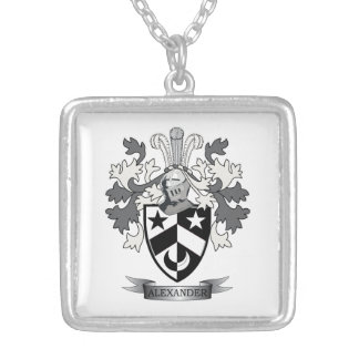 Alexander Family Crest Coat of Arms Silver Plated Necklace