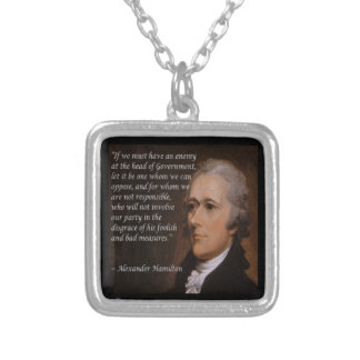 "Alexander Hamilton ""Enemy Leader"" Gift Silver Plated Necklace"