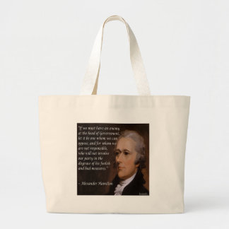 Alexander Hamilton & Enemy Leading Nation Quote Large Tote Bag