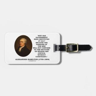 Alexander Hamilton Government Passion Constraint Luggage Tag