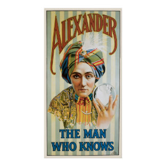 Alexander ~ Mentalist Physic Vintage Magic Ad Poster