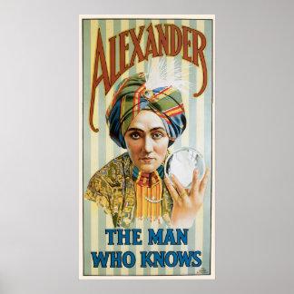 Alexander ~ Mentalist Physic Vintage Magic Ad Poster