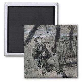 Alexander Pushkin  in a Park, 1899 Square Magnet