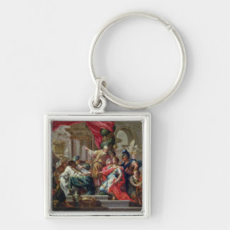 Alexander the Great in the Temple of Jerusalem Silver-Colored Square Key Ring