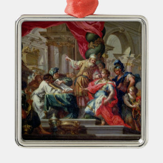 Alexander the Great in the Temple of Jerusalem Silver-Colored Square Decoration