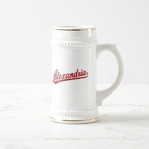 Alexandria script logo in red coffee mug
