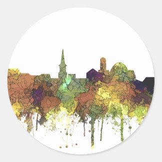 Alexandria, Viirginia Skyline - SG - Safari Buff Round Sticker