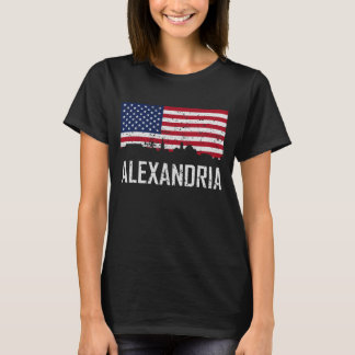 Alexandria Virginia Skyline American Flag Distress T-Shirt