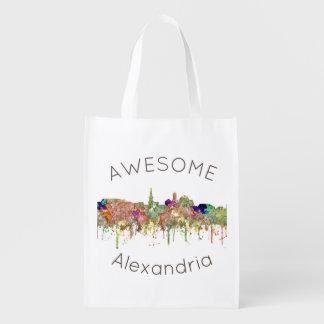 Alexandria, Virginia Skyline SG - Faded Glory Reusable Grocery Bag