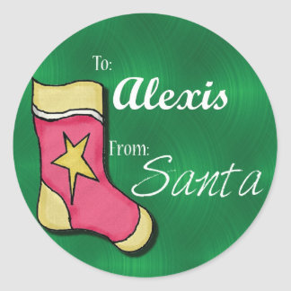Alexis Personalised Stocking Label Round Sticker