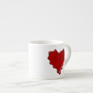 Alexis. Red heart wax seal with name Alexis Espresso Cup