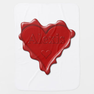 Alexis. Red heart wax seal with name Alexis Receiving Blanket