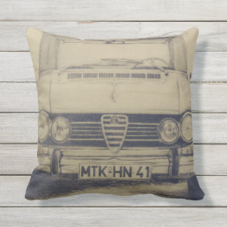 Alfa Romeo Giulia draw old time classic car Outdoor Cushion