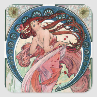 Alfons Mucha 1898 Dance Square Sticker