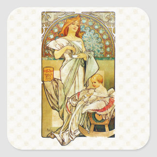 Alfons Mucha 1898 Food for Infants Square Sticker