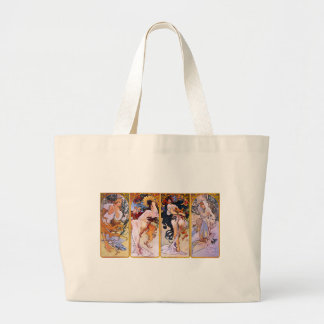 Alfons Mucha Art Nouveau Girls Painting Large Tote Bag