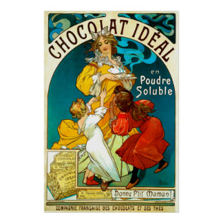 Alfons Mucha Chocolat Idéal Mother Children Food Poster