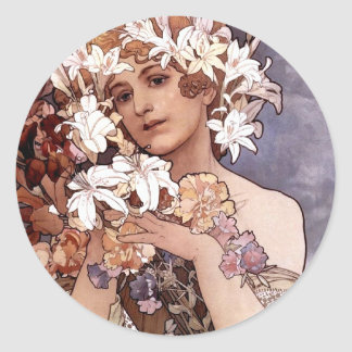 Alfons Mucha: Flower Classic Round Sticker