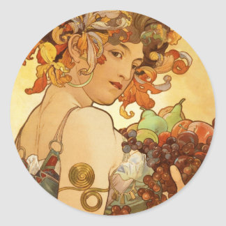 Alfons Mucha: Fruit Classic Round Sticker