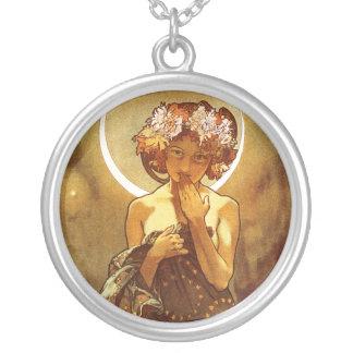 Alfons Mucha: Luna Round Pendant Necklace
